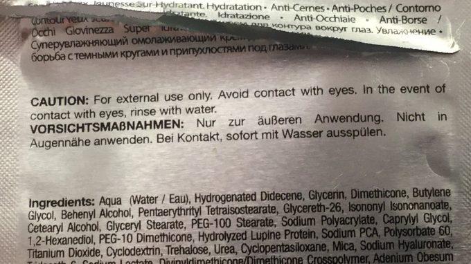 Warnhinweis zu Augencreme